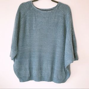 Chico's Size 2 Soft Dusty Blue Cocoon Sweater New!